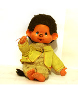 Geek Monchhichi doll with brown fur 1974s with baby pacifier and freckle... - $35.00