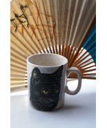Mysterious Black Cat, Vintage Ceramic Mug, Beige Cup, Devon. Clover Pottery - $19.99