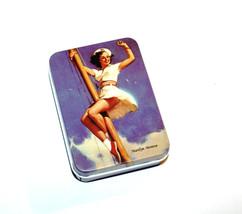 Marilyn Monroe Norma Jean Retro style metal tin jewelry box blue Pin up ... - $12.00