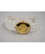 Gold Oval Face Watch Unique Handcrafted Crystal Dichroic Fused Glass Wri... - $275.00