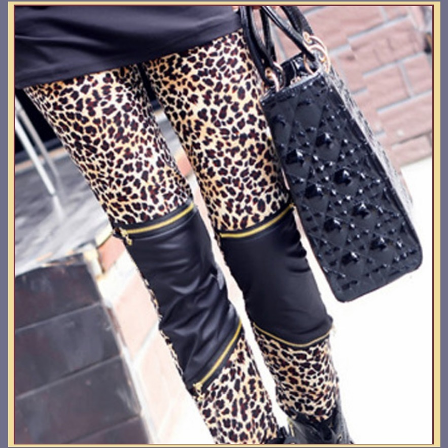 Black Zippered and Leopard Stretch Faux Pleather Tight Skinny Leggings