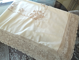 Vintage Linen Tablecloth W/ Cross Stitch Floral Embroidery and Lace Trim... - $32.99