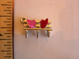 Vintage Sterling Silver Two Hearts on Park Bench 3-D Charm - Wells very romantic - $17.99