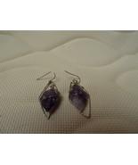 earrings rough amethyst wrapped in wire very mod - $25.00