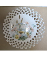 1930'S Hand Painted Milk Glass Lattice Bowl - Rare - $25.99
