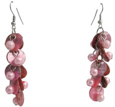 Pink Shell Drop Earrings Fashion Pink Shell Cluster Party Earrings - $6.88