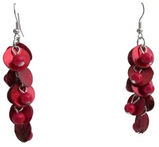 Red Shell Drop Earrings Fashion Red Shell Cluster Earring Holiday Gift - $6.88
