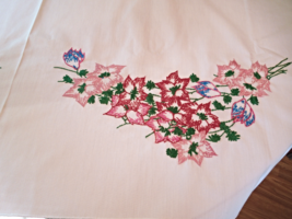 """Large White Vintage Tablecloth -Bright Floral Embroidery Approx 49"""" x 77"""" #4626 - $39.99"""