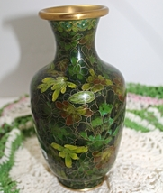 Vintage Green Leaf Brass Cloisonne Table Vase - $15.00