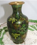 Vintage Green Leaf Brass Cloisonne Table Vase - $15.00