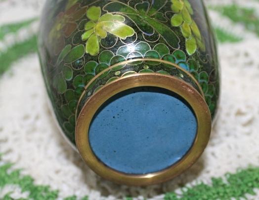Vintage Green Leaf Brass Cloisonne Table Vase