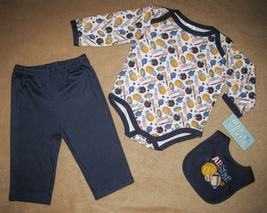 BOYS 3-6 MONTHS - Mon Petit - All Star Sports BODYSHIRT, PANTS & BIB PLA... - $19.99