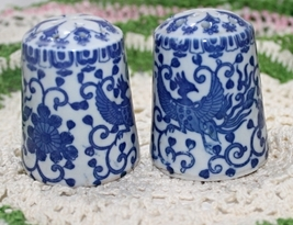 Vintage Blue & White Rising Phoenix Salt & Pepper Shakers - $10.99
