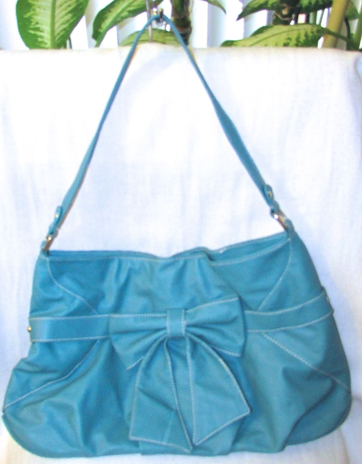 Wanted Brand Design Beautiful Large Faux Leather Teal Satchel Handbag w/Bow