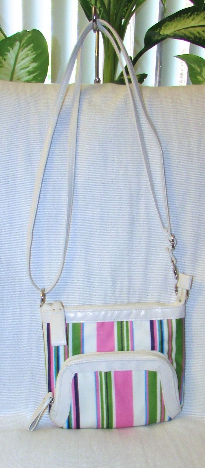 Multi-Color Striped Faux Leather Cross Body/Messenger Organizer Shoulder Bag