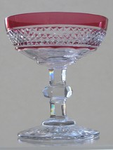 Cut Glass  Cranberry cut to clear dessert / champagne, Antique  ABP - $45.50