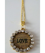 Large Rhinestone Studded Love Pendant w Gold Plated Chain Link Necklace - $9.99