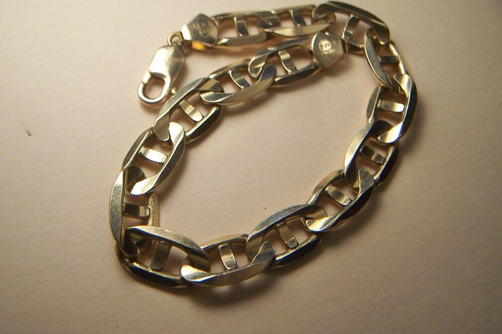 """Vintage14kt Solid Gold Mens Mariner Link HEAVY Bracelet 8-3/4"""" x 10 mm 30g Italy"""