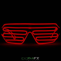 GloFX Luminescence Shutter Frames- White w/ Red Light Show Glow 3d Shades EDM - $29.95