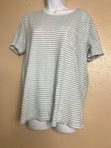Old Navy Women Short Sleeve Size M Crew Neck Green White Stripe - $11.88