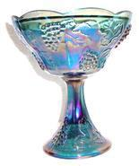 Indiana Glass Blue Carnival Harvest Grape Pattern Extra Large Glass Compote - $84.39