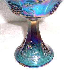 Indiana Glass Blue Carnival Harvest Grape Pattern Extra Large Glass Compote