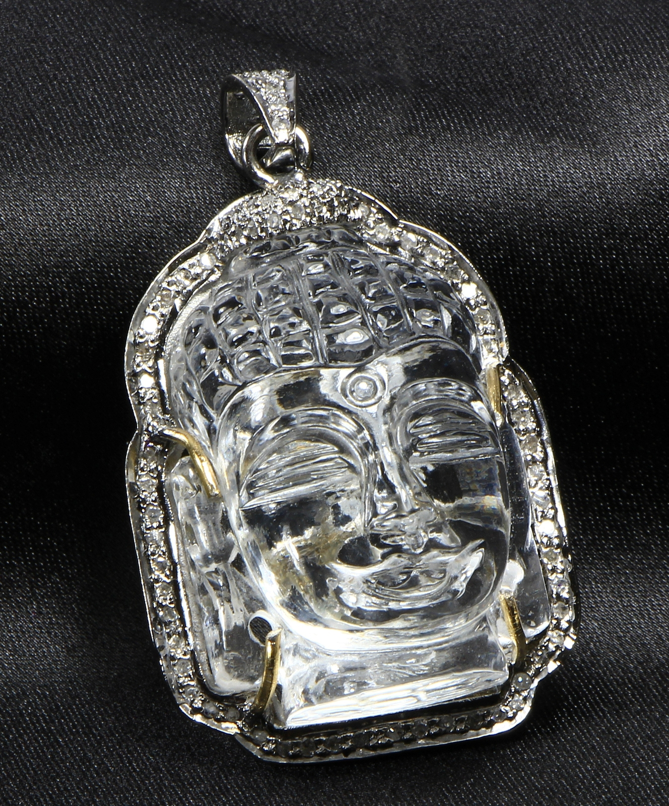 Handmade Buddha design Pendant  .925Sterling Silver with Carved Crystal Gemstone