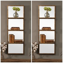 "PAIR DESIGNER XXL 47"" RUSTIC AGED BRONZE METAL MIRRORED SHELVES BACK WAL... - $492.80"