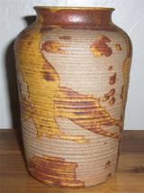 JIM WALLACE HANDMADE CERAMIC POTTERY VASE WITH  BLENDS OF BROWNS - $386.03