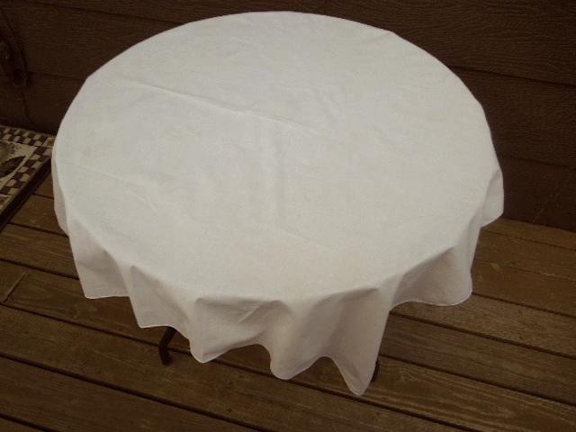"""40"""" Square Vintage Cotton Tablecloth - Light Ecru  #5138 image 2"""