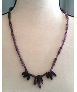 Necklace, Natural Amethyst Point with Natural Amethyst Beads Healing Stone - $22.76