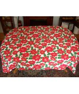 "CHRISTMAS Tablecloth  gold lined poinsettas cotton cloth 64X84"" - $19.95"