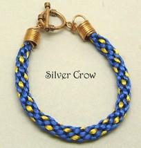 Kumihimo Bracelet Gold Dot on Dark Blue - $12.99