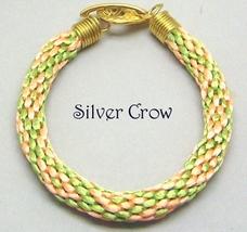 Kumihimo Bracelet Peach Lime Green Satin Cord - $17.99