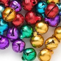 Lot 400 Jingle Bells ~ Mixed Jewel Tones Christmas Colors ~ Beads Charms 10mm - $14.85