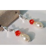 Beautiful Freshwater Cultured Pearl And Red Swarovski Crystal Earrings - $10.99