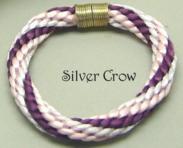 Kumihimo Bangle Bracelet Variegated Pink  Satin Cord - $17.99