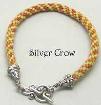 Kumihimo Bracelet Lime Green Rust PerleCotton Cord - $13.99