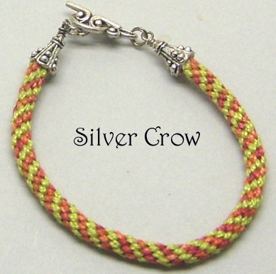 Kumihimo Bracelet Lime Green Rust PerleCotton Cord