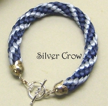 Kumihimo Bracelet  Dark and Light Blue  Satin Cord - $12.99