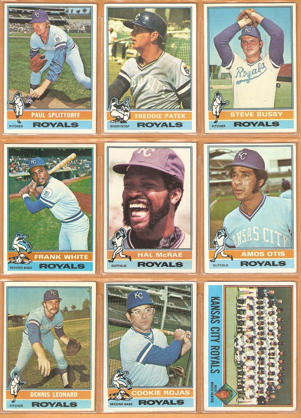 Primary image for 1976 Topps Kansas City Royals Team Lot 26 Diff Frank White McRae Patek Otis