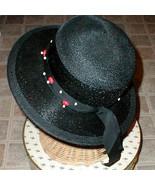 Lady Ladies Black Straw Hat Wood beads Chesterfield VINTAGE with BONUS A... - $65.00