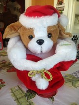 Vintage ANIMATED CHRISTMAS Peek A Boo Plush Puppy Dog In Stocking RARE N... - $39.99