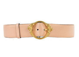 Roberto Cavalli Womens Nude Leather Gold Lion Head Buckle Belt Sz 85 M R... - $142.50