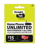 Straight Talk Wireless $15 Plan Home Phone refill prepaid card pin ( digital ) - $12.99