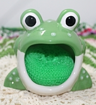 Discontinued Boston Warehouse Big Mouth Frog Sponge/Scrubby Holder - $10.50