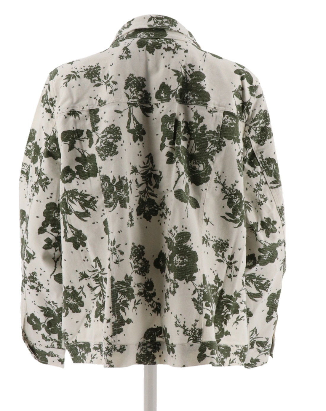 Denim & Co Floral Printed Twill Jean Jacket Olive M NEW A274027