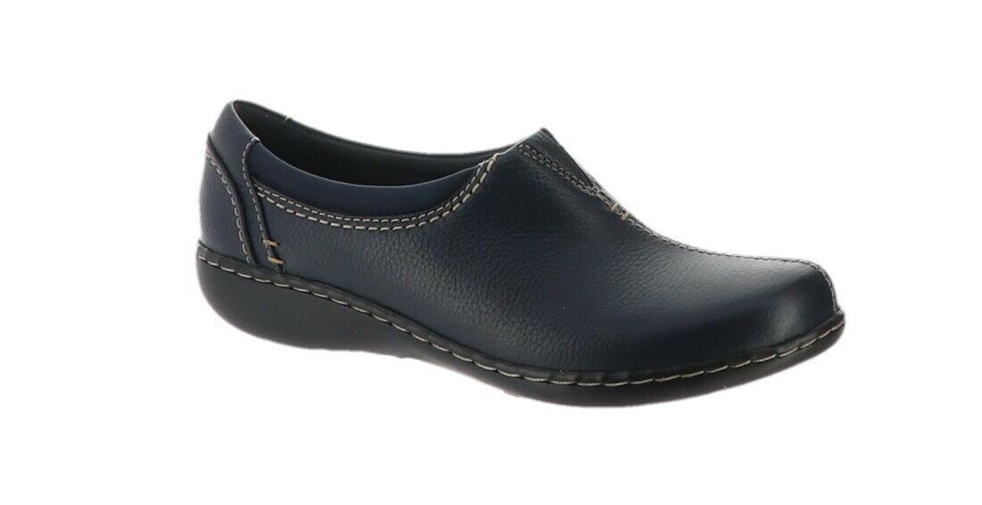 Clarks Leather SlipOn Shoes Ashland Joy Navy 8.5M NEW A344021