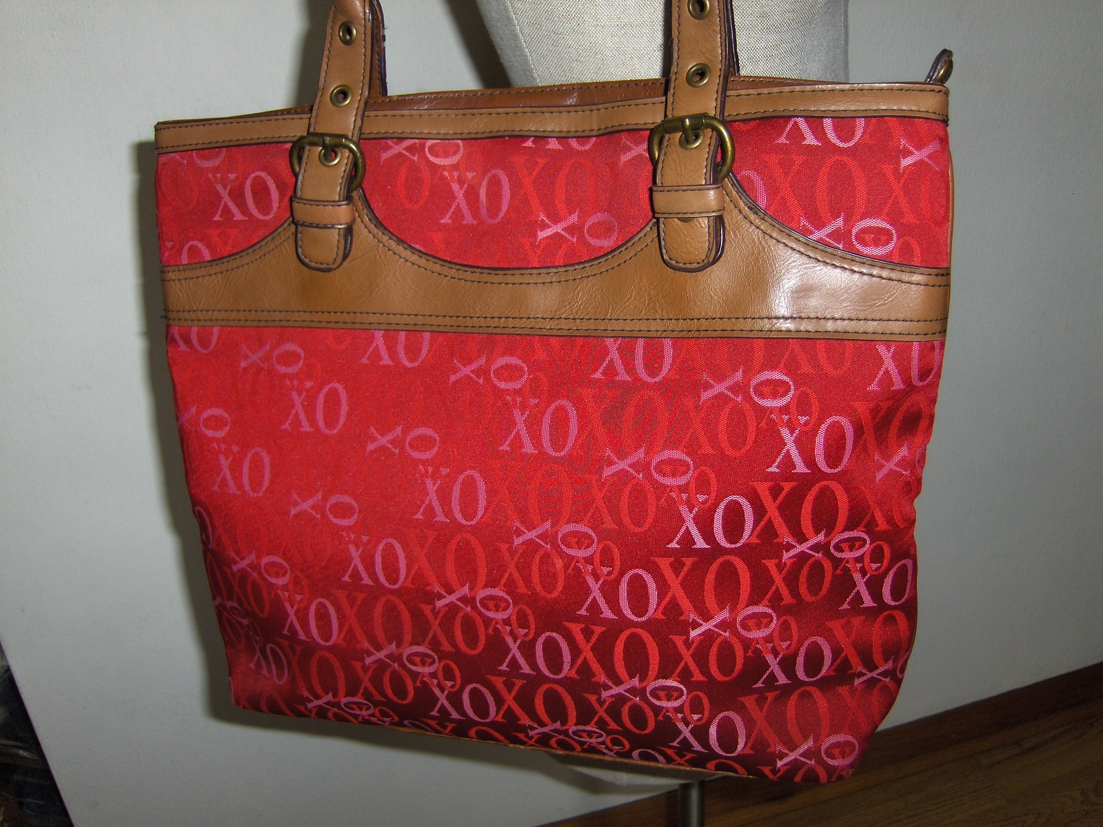 XOXO Signature Logo Red Satchel Tote Handbag Shopper Purse