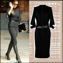 Victoria Beckham Designer Black Denim Executive Half Sleeved Midi Dress w/ Belt